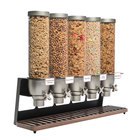 Rosseto EZ522 EZ-SERV 4.9 Liter Five Canister Tabletop Snack / Cereal Dispenser with Black Matte Steel Stand and Walnut Catch Tray - 32 1/2 inch x 9 inch x 26 inch