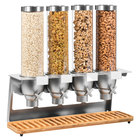 Rosseto EZ548 EZ-SERV 5.1 Liter Four Canister Tabletop Snack / Cereal Dispenser with Nickel Metallic Steel Stand and Bamboo Catch Tray - 26 7/8 inch x 9 7/8 inch x 26 inch