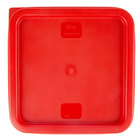 Choice 6 and 8 Qt. Red Square Polyethylene Food Storage Container Lid