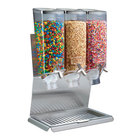 Rosseto EZ51377 EZ-PRO 3.8 Liter Triple Canister Tabletop Snack / Cereal Dispenser with Stainless Steel Stand and Catch Tray - 19 inch x 10 inch x 16 inch