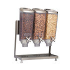 """Rosseto EZP2135 EZ-PRO 3.8 Liter Triple Canister Tabletop Food Dispenser with Stainless Steel Stand and Catch Tray - 16"""" x 8"""" x 21"""""""