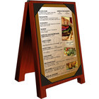 Menu Solutions WDSD-PIX-B 5 inch x 7 inch Mahogany Wood Sandwich Menu Board Tent with Picture Corners