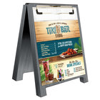 Menu Solutions WDSD-CL-A 4 inch x 6 inch Ash Wood Sandwich Menu Board Tent with Clip