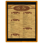 Menu Solutions WDSTR-C Country Oak 8 1/2 inch x 11 inch Customizable Wood Menu Board with Top and Bottom Strips