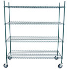 Regency 24 inch x 60 inch NSF Green Epoxy Shelf Kit with 64 inch Posts and Casters