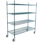 Regency 24 inch x 60 inch NSF Green Epoxy 4-Shelf Kit with 64 inch Posts and Casters
