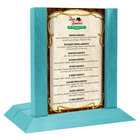 Menu Solutions WDAFR-A Sky Blue Wood Menu Holder / Tent with 4 inch x 6 inch Insert Slot