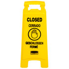 Rubbermaid FG611278YEL 25 inch Yellow Double Sided Multi-Lingual Wet Floor Sign - Closed