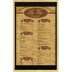 Menu Solutions WDSTR-D Natural 8 1/2 inch x 14 inch Customizable Wood Menu Board with Top and Bottom Strips