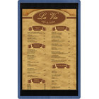 Menu Solutions WDSTR-D True Blue 8 1/2 inch x 14 inch Customizable Wood Menu Board with Top and Bottom Strips