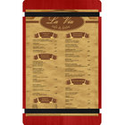Menu Solutions WDRBB-D Berry 8 1/2 inch x 14 inch Customizable Wood Menu Board with Rubber Band Straps