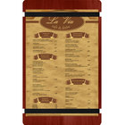 Menu Solutions WDRBB-D Mahogany 8 1/2 inch x 14 inch Customizable Wood Menu Board with Rubber Band Straps