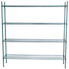 Regency 14 inch x 72 inch NSF Green Epoxy Shelf Kit with 74 inch Posts