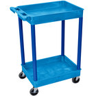 Luxor BUSTC11BU Blue 2 Tub Utility Cart - 18 inch x 24 inch x 37 1/2 inch