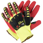 OGRE-CR+ Yellow HPPE / Glass Fiber Cut Resistant Gloves with Red Sandy Nitrile Palm Coating and TPR Reinforcements - Medium - Pair