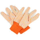 Cotton Canvas Work Gloves with Orange PVC Dotted Palm Coating - Large - Pair - 12/Pack