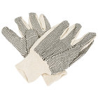 Cotton Canvas Work Gloves with Black PVC Dotted Palm Coating - Large - Pair - 12/Pack