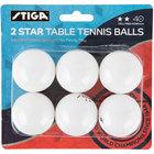 Stiga T1428 2-Star White Ping Pong Balls - 6/Pack