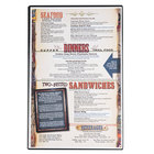 Menu Solutions H500G Hamilton Black 11 inch x 17 inch Single Panel Two View Menu Board