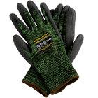 Monarch Soft Green Engineered Fiber Cut Resistant Gloves with Black Polyurethane Palm Coating - Medium - Pair