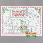 Hoffmaster Kids Santa's Workshop Interactive Paper Placemat with Choice 4 Pack Kids Restaurant Crayons - 1000/Set