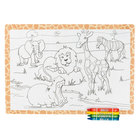 Hoffmaster Kids Jungle Fun Design Placemat with Choice 4 Pack Kids Restaurant Crayons - 1000/Set