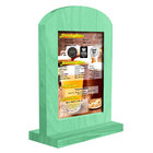 Menu Solutions WTARCH-A 4 inch x 6 inch Washed Teal Arched Wood Menu Tent with Straight Base