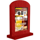 Menu Solutions WTARCH-B 5 inch x 7 inch Berry Arched Wood Menu Tent with Straight Base