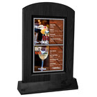 Menu Solutions WTARCH-A-2S 4 inch x 6 inch Black Arched Wood Menu Tent with Angled Base