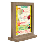 Menu Solutions WTFR-A 4 inch x 6 inch Weathered Walnut Framed Wood Menu Tent with Straight Base