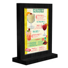 Menu Solutions WTFR-A 4 inch x 6 inch Black Framed Wood Menu Tent with Straight Base