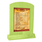 Menu Solutions WTARCH-B-2S 5 inch x 7 inch Lime Arched Wood Menu Tent with Angled Base
