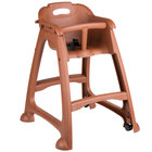 Lancaster Table &amp&#x3b; Seating Ready-To-Assemble Brown Stackable Plastic Restaurant High Chair with Tray and Wheels