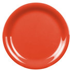 Thunder Group CR106RD 6 1/2 inch Orange Narrow Rim Melamine Plate - 12/Pack