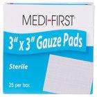 Medi-First 61273 Sterile 3 inch x 3 inch Gauze Pads   - 25/Box