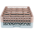 Noble Products 20-Compartment Gray Full-Size Glass Rack with 2 Brown Extenders - 19 3/8 inch x 19 3/8 inch x 7 1/4 inch