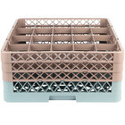 Noble Products 20-Compartment Gray Full-Size Glass Rack with 3 Brown Extenders - 19 3/8 inch x 19 3/8 inch x 8 3/4 inch