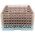 Noble Products 20-Compartment Gray Full-Size Glass Rack with 4 Brown Extenders - 19 3/8 inch x 19 3/8 inch x 10 1/2 inch