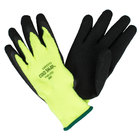 Cold Snap Hi-Vis Green Loop-In Terry Gloves with Black Foam Latex Palm Coating - Extra Large - Pair