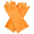 Premium 28-Mil Orange Embossed Unsupported Neoprene / Latex Gloves with Cotton Flock Lining - Medium - Pair - 12/Pack