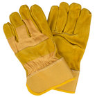 Men's Yellow Canvas Work Gloves with Russet Premium Shoulder Split Leather Palm Coating and 2 1/2