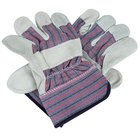 Striped Canvas Work Gloves with Shoulder Split Leather Palm Coating and 2 1/2