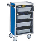 Lakeside 890-RB Medium-Duty Stainless Steel Enclosed Bussing Cart with Ledge Rods and Royal Blue Finish - 17 5/8 inch x 27 3/4 inch x 42 7/8 inch