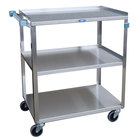 Lakeside 322L Standard-Duty Stainless Steel Three Shelf Utility Cart - 18 3/8 inch x 30 3/4 inch x 33 inch