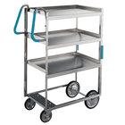 Lakeside 7015 Heavy-Duty Stainless Steel Three Shelf Ergo-One System Utility Cart - 18 5/8 inch x 35 3/8 inch x 46 3/4 inch