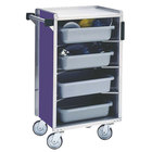 Lakeside 890A Medium-Duty Stainless Steel Enclosed Bussing Cart with Ledge Rods and Purple Finish - 17 5/8 inch x 27 3/4 inch x 42 7/8 inch