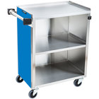 Lakeside 610BL Standard-Duty Stainless Steel Three Shelf Utility Cart with Enclosed Base and Royal Blue Finish - 16 1/2 inch x 27 3/4 inch x 32 3/4 inch
