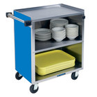 Lakeside 622-RB Medium-Duty Stainless Steel Three Shelf Utility Cart with Enclosed Base and Royal Blue Finish - 19 inch x 30 3/4 inch x 33 7/8 inch