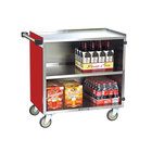 Lakeside 644RD Medium-Duty Stainless Steel Three Shelf Utility Cart with Enclosed Base and Red Finish - 22 1/2 inch x 39 1/4 inch x 37 7/8 inch