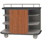 Lakeside 8715VC Stainless Steel Self-Serve Full-Size Hydration Cart with 6 Corner Shelves and Victorian Cherry Laminate Finish - 47 inch x 26 inch x 38 inch